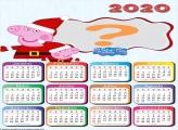 Calendário 2020 Peppa Noel Moldura Infantil