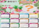Colar Foto no Calendário 2021 Flamingo Tropical
