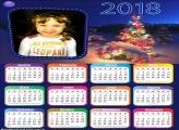 Moldura Fotos com Calendário 2018 Natal