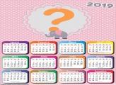 Calendário 2019 Elefantinho Rosa e Cinza