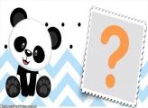 Panda Azul Meninos Moldura