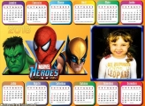 Calendário 2018 Hulk Homem Aranha Volverine