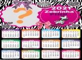 Calendário 2021 Zebrinha Pink Foto Montagem