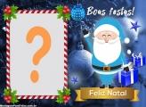 Papai Noel Azul Feliz Natal e Boas Festas