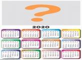 Calendário 2020 em Branco Base Colorida