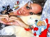 Moldura Abraçando Papai Noel