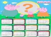 Calendário 2020 Peppa Pig Família Moldura