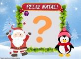 Papai Noel e Pinguim Cute Montagem de Fotos Online