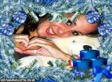 Moldura Velas Azuis de Natal