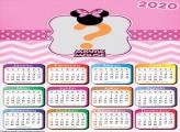Calendário 2020 Tema Minnie Mouse Grátis