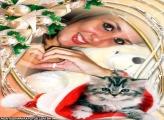 Moldura Gato do Papai Noel
