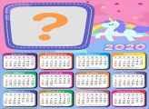Calendário 2020 Unicórnio Candy Color nas Nuvens
