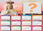 Calendário 2021 Nossa Senhora de Fátima Moldura