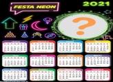 Emoldurar Calendário 2021 de Festa Neon