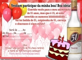 Convite Aniversário de 51 Anos