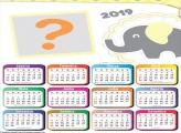 Calendário 2019 Elefantinho Amarelo e Cinza