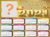 Calendário 2021 Feliz Ano Novo Montagem de Fotos