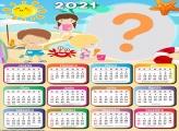 Moldura Praia Infantil Calendário 2021