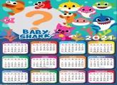 Calendário 2021 Personagens Baby Shark Tema Festa