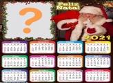Calendário Natal 2021 Papai Noel Colagem de Foto