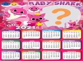 Calendário 2021 Baby Shark Rosa Meninas