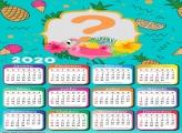 Moldura Infantil Calendário 2020 Flamingo