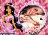 Princesa Jasmine Rosa e Flores Moldura