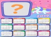 Calendário 2019 Unicórnio Candy Color nas Nuvens