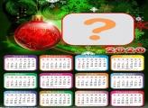 Calendário 2020 Bola Vermelha de Árvore Natalina