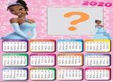 Calendário 2020 Princesa Tiana Moldura Digital