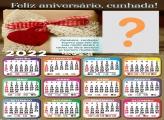 Calendário 2022 Feliz Aniversário Cunhada Montar e Imprimir